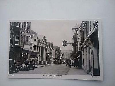 R Tucks RP Postcard of The High Street & Shop Fronts Guildford Surrey