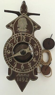 Columbus Wooden One Hand Wall Clock Anno 1492 Chicago Worlds Fair 1893