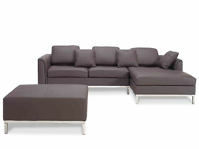 Sectional sofa L, 100% leather, suite with ottoman, corner, brown