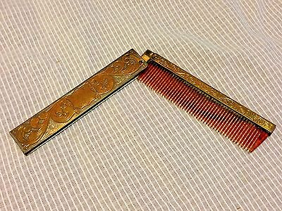 Vintage Small Comb Hinged in Folding Case, Silvertone Goldtone, Faux Tortoise VG