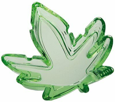 Glass Ashtray Green Hemp Cannabis Leaf Shaped Marijuana
