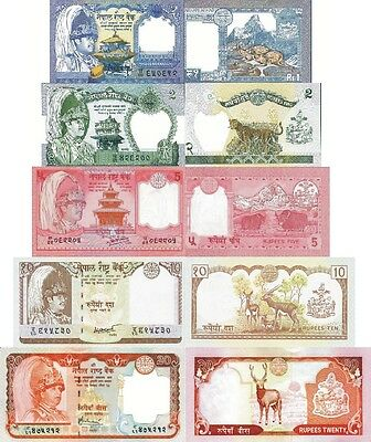 NEPAL - Lotto 5 banconote 1/2/5/10/20 Rupees FDS - UNC