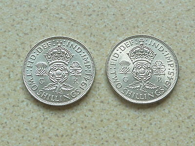 2 .500 Silver 2/- Two Shillings 1941 / 1945