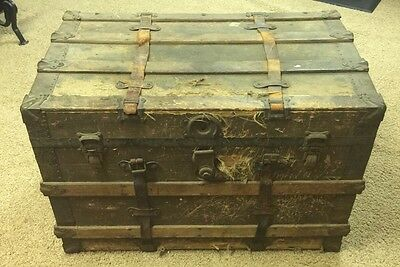 Vintage Antique Canvas Slat Wood Iron Steamer Luggage Trunk Coffee Table FlatTop