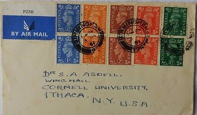 1951 Birmingham Airmail Cover With Light & Festival Colours Correct Rate To Usa