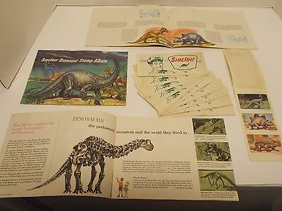 Vintage SINCLAIR Dinosaur Stamp Albums, Dinosaur Stamps, and Stock Certificate