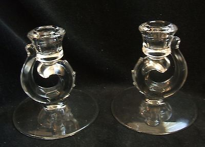 2 Vintage Fostoria Clear Glass Pattern Century 2630 Candle Holders