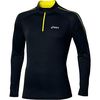 Asics Essentials Long Sleeve Half Zip Mens Breathable Running Training Top Black