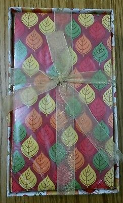 40 ct Fall Leaves Paper Dinner Napkins Guest Towels with Caddy