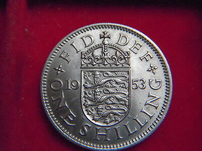 1953 Elizabeth 11 Uncirculated English  Shilling From My Collection [E77]