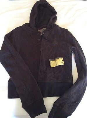 Black ladies/ girls button up hoodie specked colours bnwt L 14?