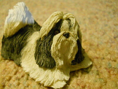 Sandicast Shih Tzu, Black And White Peeper Figurine