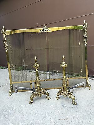 Ornate Brass Fireplace Screen With Andirons, Gargoyle Feet, Applied Decorations
