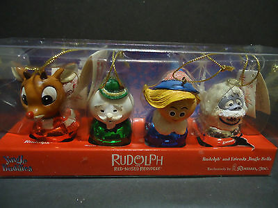 Set of 4 Rudolph The Red-Nosed Reindeer Jingle Buddies Christmas Ornaments Boxed
