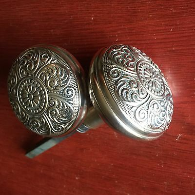 Antique Pair Victorian Cairo Design Brass Very Ornate Door Knobs. #B