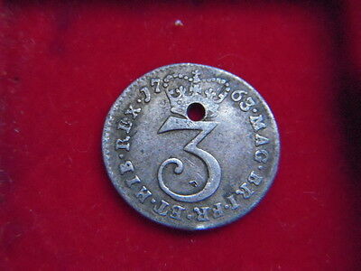 1763 George 111  Silver Threepence [Filler]  From My Collection [E89]