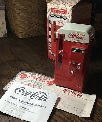 Coca Cola Die Cast Metal Collectible Musical Bank Vending Machine Coke  A+