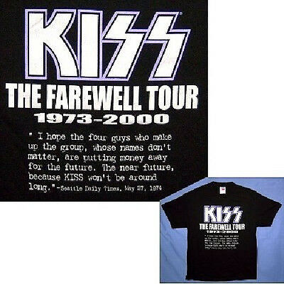 Kiss! Farewell Tour 1973-2000 Quote Blk T-Shirt L New
