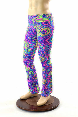 Mens UV Glow Worm Psychedelic High Waist Bootcut Spandex Pants Made To Order!