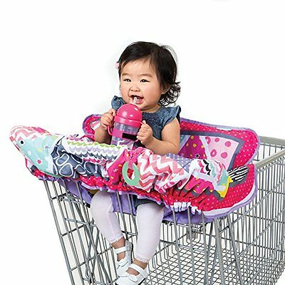 2in1 Pink Grocery Cart Cover for Baby Compact Infant Shopping Basket Protector