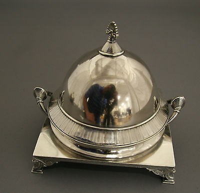 Whiting Two Piece Sterling Silver Butter Dish Ottoman Empire Design