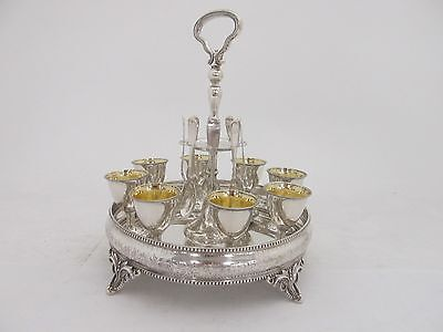 Bailey & Co Coin Silver Egg Set W/ Cups And Spoons C. 1840-1865