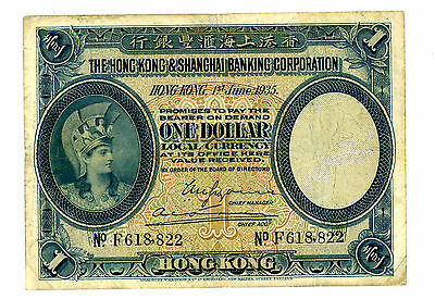 Hong Kong  … P-172c … 1 Dollar … 1935 … *F*