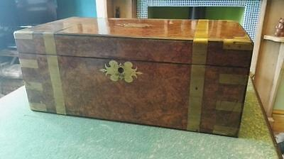 Superb Brass Bound Burr Walnut Victorian Writing Slope With 3 Secret Drawers