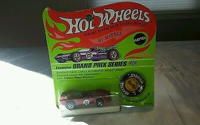 Punched 1969 Hot Wheels Mattel Redline red Ferrari 312P in Blister Pack w/button