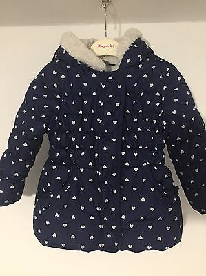 GEORGE NAVY BLUE HEART PUFFA JACKET AGE 2-3 Years