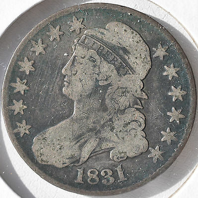 1831 50C Capped Bust Half Dollar Original Coin Circulated Very Good VG
