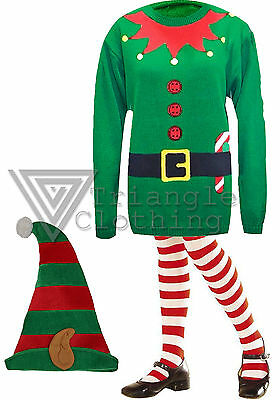 Christmas Jumper Day Elf Santa Helper Jumper Hat Tights Fancy Dress New