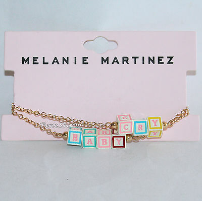 "Melanie Martinez Cry Baby 3D Blocks Bracelet Set Cry Baby Gold Tone 7"" Chain NEW"
