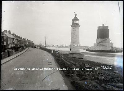 1910's SOUTHWICK SHOREHAM LIGHTHOUSE & TOWER SUSSEX LARGE GLASS PLATE NEGATIVE