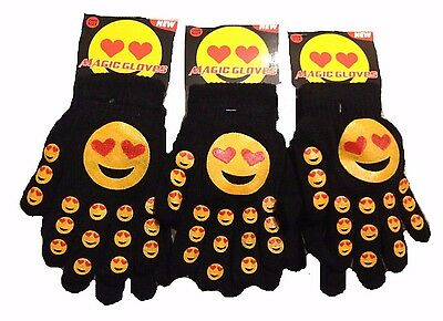 Cute Kids Children Girls Boys Knitted Winter Warm Emoji Print Funny Faces Gloves