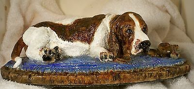 Dog Figurine BASSET HOUND Red & White Laying on Rug with Dinner LARGE WONDERFUL