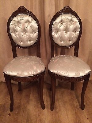 A Pair Of Immaculate Vintage Small Occasional Bedroom Chairs In Dark Wood