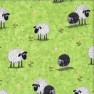 Black and White Lewe The Sheep on Green Quilt Fabric FQ or Metre *New*