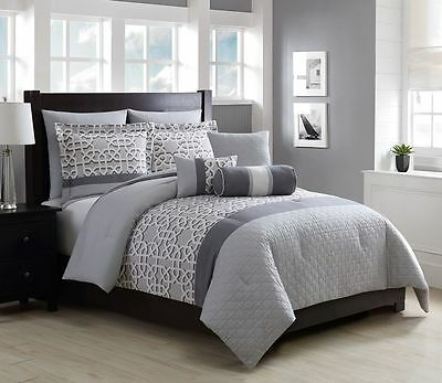 12 Piece Miles Charcoal/Gray Bed in a Bag Set