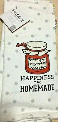 ENVOGUE KITCHEN TOWELS HAPPINESS IS HOMEMADE JAM JELLY POLKA DOT  NIP 2