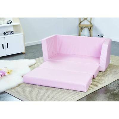 New Kids Childrens Pink Upholstered PU Flip Out Sofa Sofas Couch Lounge Chair
