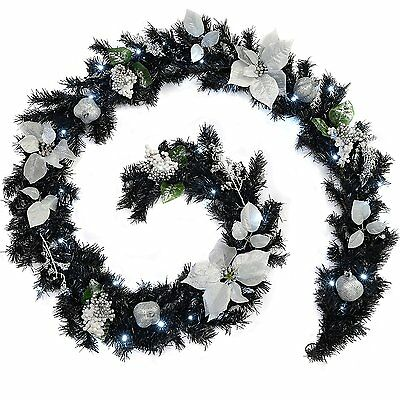 Luxury Christmas Decorated Pre-Lit Garland Illuminated with 40 White LED Lights