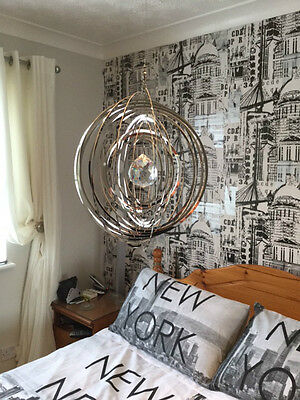 3D Circle Wind Spinner Garden Or Indoor Mobile Stainless Steel Mirror Finish New