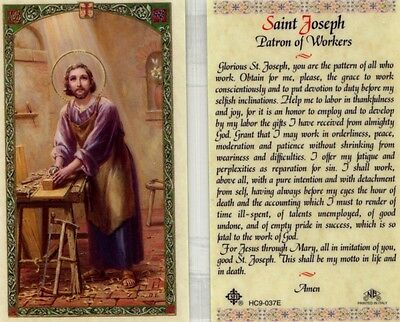 Saint Joseph Patron Pattern of All Who Work Laminated Prayer Holy Card HC9-037E