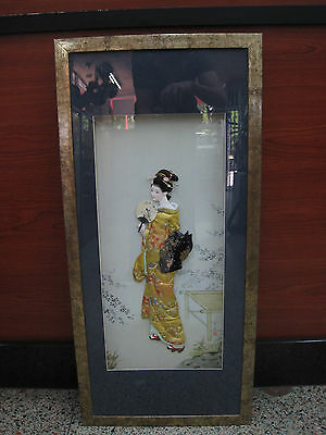 Japanese 3D Geisha Framed Art Piece Excellent Shape
