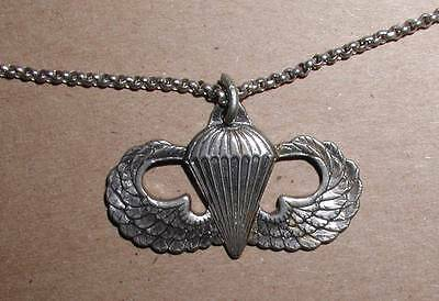Ww2 Era Paratrooper Jumpwing Sweetheart Necklace - Sterling