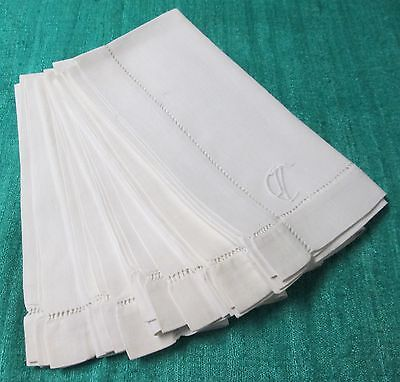 Antique 7 Linen Napkins C Monogram Hemstitched Silky Fabric Very Elegant