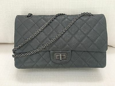 71c0f838f002 NEW CHANEL 2.55 REISSUE Grey Caviar Jumbo Classic Double Flap Bag ...