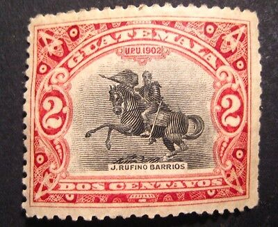 Statue of Justo Rufino Barrios 2 Dos Centavos UPU 1902 Guatemala Post Stamp