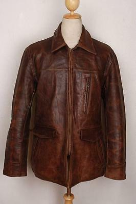 Vtg 40s ALDENS Horsehide Leather Half Belt Motorcycle Sports Jacket Medium